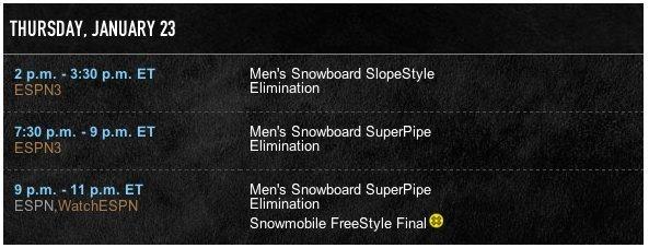 PROGRAMMA SLOPESTYLE E HALF PIPE XGAMES ASPEN 2014 - LM SNOWBOARD STORE
